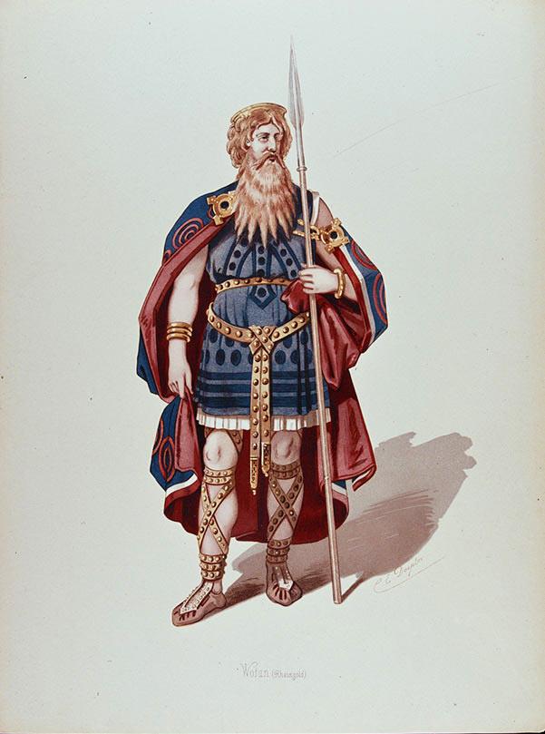 Foto Bayreuther Festspiele 1876, Rheingold, Wotan, Figurine von E. Doepler, Nationalarchiv Bayreuth