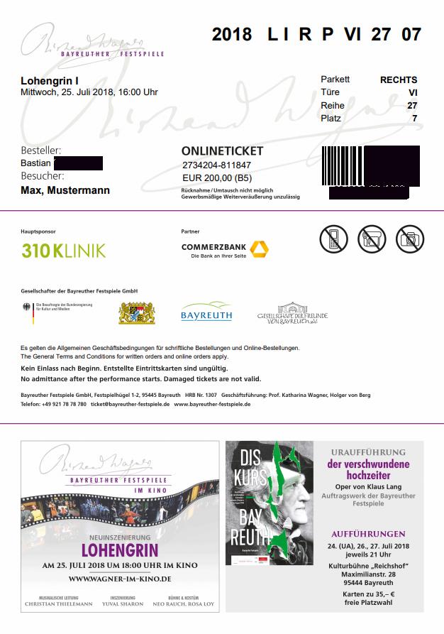 Ansicht eines beispielhaften Online-Tickets der Bayreuther Festspiele